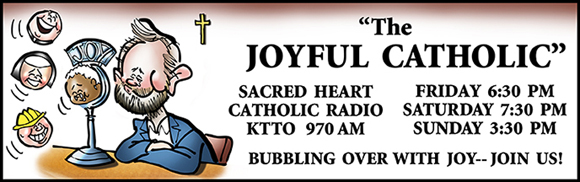 Banner for Joyful Catholic radio program, Roman Catholic Diocese of Spokane, Washington, caricature of host Eric Meisfjord using microphone as bubble wand to blow little people bubbles representing his guests on the radio program