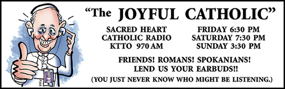 Banner for Joyful Catholic radio program, Roman Catholic Diocese of Spokane, Washington, caricature of Pope Francis who is listening to radio program on iPod with earbuds and giving thumbs-up sign