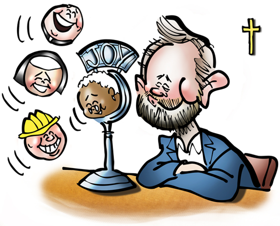 Promotional art for Joyful Catholic radio program, Roman Catholic Diocese of Spokane, Washington, caricature of host Eric Meisfjord using microphone as bubble wand to blow little people bubbles representing the guests on his radio program