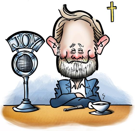 Promotional art for Joyful Catholic radio program, Roman Catholic Diocese of Spokane, Washington, caricature of host Eric Meisfjord sitting at microphone with cup of coffee