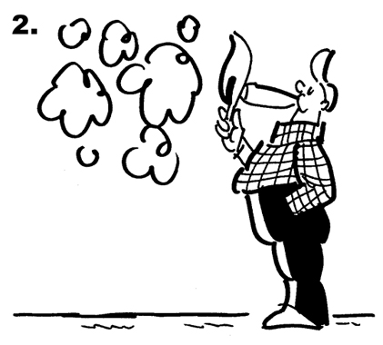Panel 2 of Busker the Street Musician 4th of July comic strip, guy lighting cigar, throws match away, match lands on fuse leading to huge armful of fireworks being carried away from fireworks outlet store by Busker