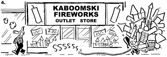 Panel 4 of Busker the Street Musician 4th of July comic strip, guy lighting cigar, throws match away, match lands on fuse leading to huge armful of fireworks being carried away from fireworks outlet store by Busker