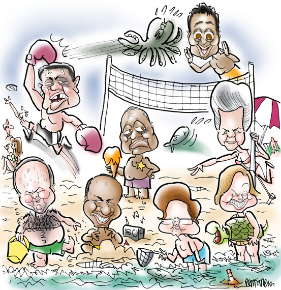Cover illustration for summer issue of Philadelphia City Paper, beach scene with eight caricatures, including Sylvester Stallone as Rocky Balboa, M. Night Shyamalan who directed The Sixth Sense, and former Pennsylvania governor Ed Rendell