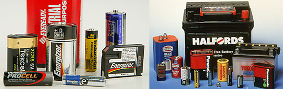 photos of different kinds of batteries used in cars and electronic devices