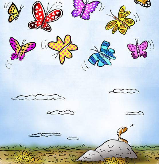 detail image of little worm on rock gazing up with envy at beautiful butterflies hovering and soaring in the sky above him