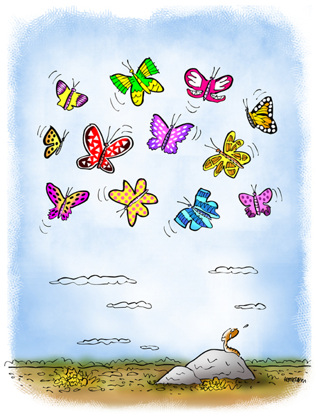 Little worm on rock gazing up with envy at beautiful butterflies hovering and soaring in the sky above him