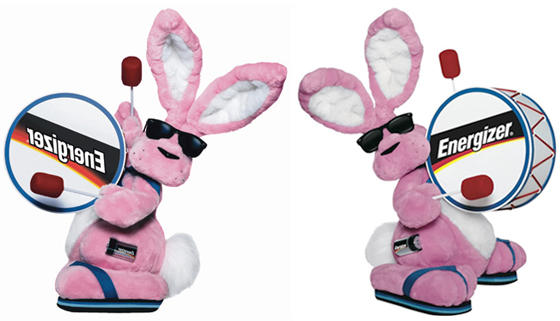 Photos of Energizer Bunny, famous marketing symbol and icon, mascot for Energizer batteries, featured in TV commercials that claim Energizer batteries keep on going and going and going