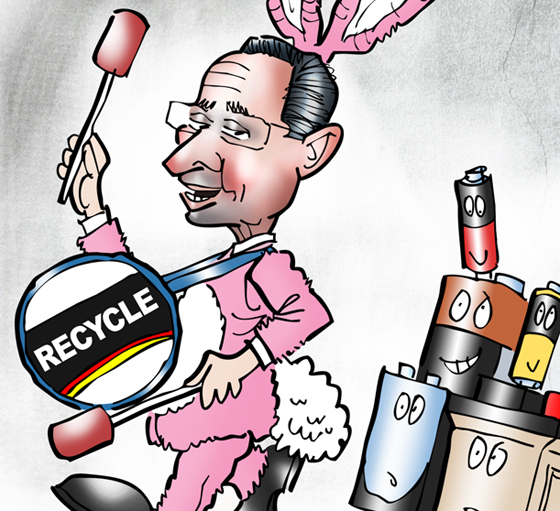 "detail image of Connecticut Governor Dannel ""Dan"" Malloy as Energizer Bunny banging Recycle drum, leading old batteries to recycling center"