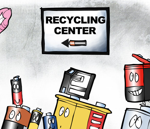 """detail image of Connecticut Governor Dannel """"Dan"""" Malloy as Energizer Bunny banging Recycle drum, leading old batteries to recycling center"""