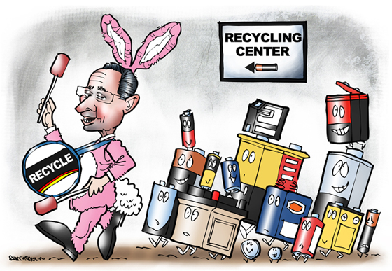 "Connecticut Governor Dannel ""Dan"" Malloy as Energizer Bunny banging Recycle drum, leading old batteries to recycling center"