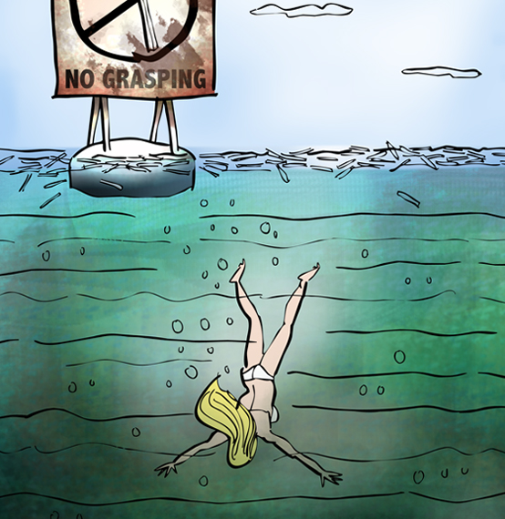detail image of sign on buoy in ocean says grasping at straws is prohibited, drowned woman in bikini sinking down into murky depths as straws float on surface of water