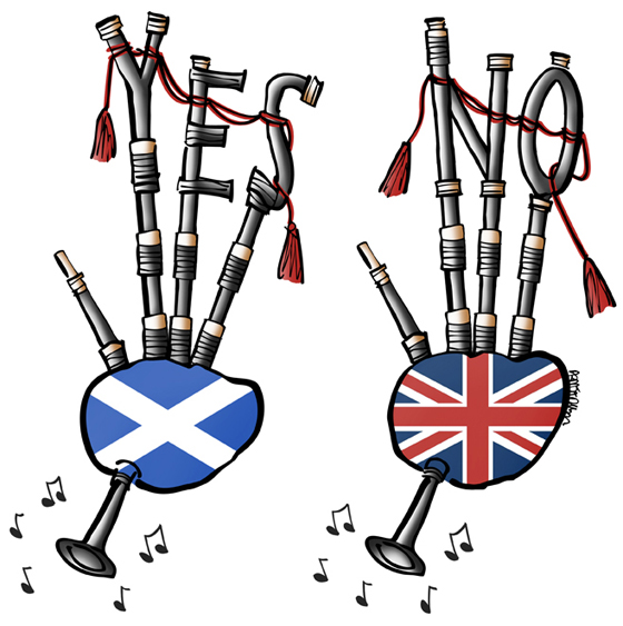Two bagpipes playing music, one bag as Scottish flag with pipes spelling out YES, one bag with Union Jack United Kingdom flag with pipes spelling out NO, reference to Scottish Referendum scheduled for September 18, 2014 to decide if Scotland should be independent country