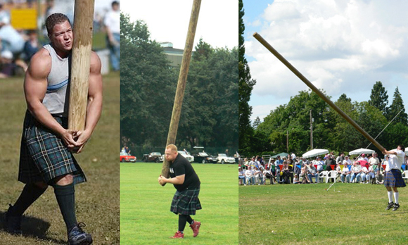 Scotsmen wearing kilts carrying and tossing caber at Scottish games