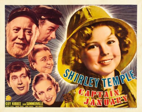Poster for 1936 film Captain January, starring Shirley Temple, Guy Kibbee, Slim Summerville, Buddy Ebsen, Sara Haden
