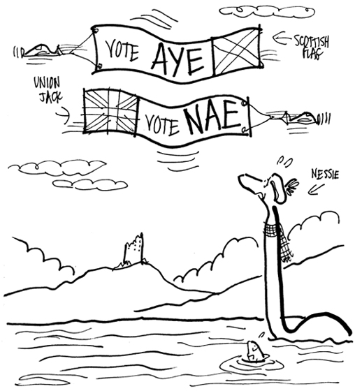 Nessie the Loch Ness Monster in Scottish Highlands looking up at two airplanes flying across sky, one plane pulling banner with Scottish flag that says Vote Aye, other plane pulling banner with Union Jack United Kingdom flag that says Vote Nae, reference to Scottish Referendum scheduled for September 18, 2014 to decide if Scotland should be independent country