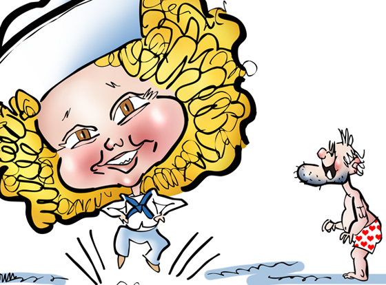detail image of caricature of movie child star Shirley Temple tap dancing in sailor cap and sailor suit Captain January cartoon character resembling Popeye watching in his underwear next to paper doll sailor clothes