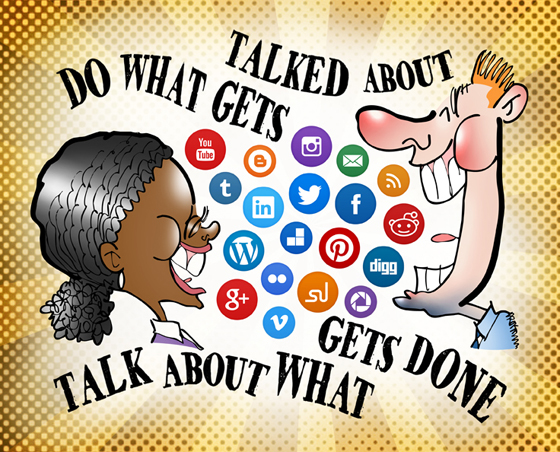 retro pattern overlay on Black woman, white man talking laughing air filled with social media icon buttons Twitter Facebook LinkedIn Reddit Do what gets talked about, talk about what gets done