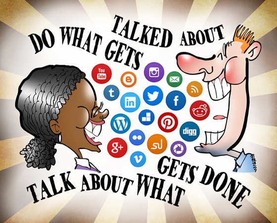 sunburst background with layer mask for Black woman, white man talking laughing air filled with social media icon buttons Twitter Facebook LinkedIn Reddit Do what gets talked about, talk about what gets done