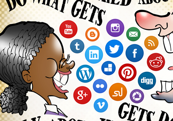 detail image of Black woman, white man talking laughing air filled with social media icon buttons Twitter Facebook LinkedIn Reddit Do what gets talked about, talk about what gets done