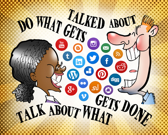 Black woman, white man talking laughing air filled with social media icon buttons Twitter Facebook LinkedIn Reddit Do what gets talked about, talk about what gets done