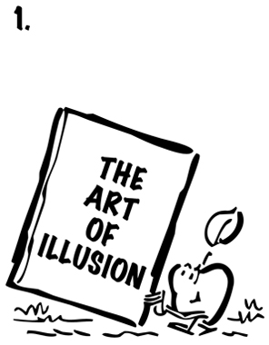 Apple walking along, learning magic tricks by reading book called The Art Of Illusion