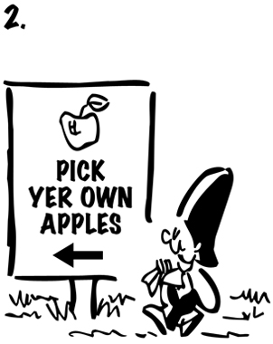 Busker saxophone playing street musician walking along carrying empty sack passing sign that says Pick Your Own Apples