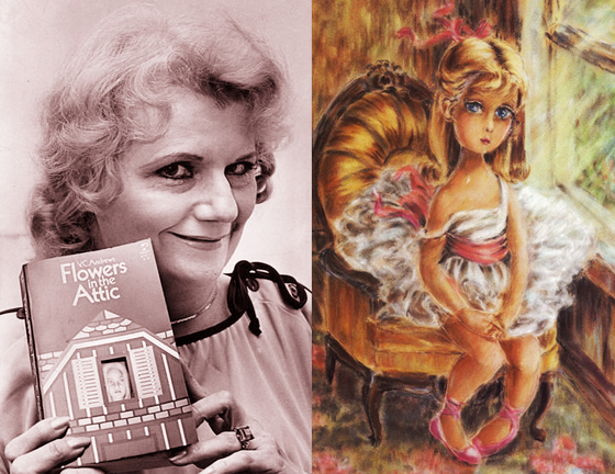Photo of gothic horror author V.C. Andrews holding her first book Flowers In The Attic, and her painting of wide-eyed plaintive little girl in frilly dress