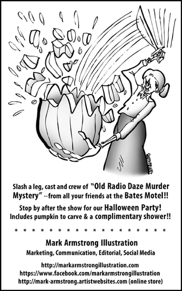 ad for community theater program parody of Hitchcock Psycho movie with Norman Bates mother slashing stabbing pumpkin for Halloween jack o'lantern