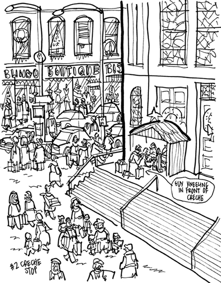 rough sketch of Christmas cover city street scene with church shoppers guy kneeling at creche top of church steps saying a prayer