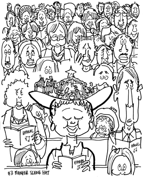 rough sketch of Christmas cover people singing hymn in church woman in front pew wearing large hat with manger scene creche wise men camels on brim