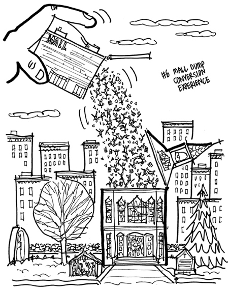 rough sketch of Christmas cover giant hand in sky emptying out people from mall building like a salt shaker, pouring them into a city church with roof propped open creche in front tall buildings in background