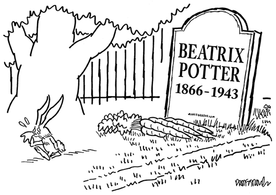 Peter Rabbit crying in cemetery has left bunch of carrots on Beatrix Potter grave