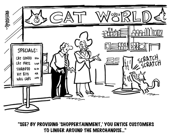 cat world cat accessory store at mall has scratching post to attract customers encourage them to look at merchandise