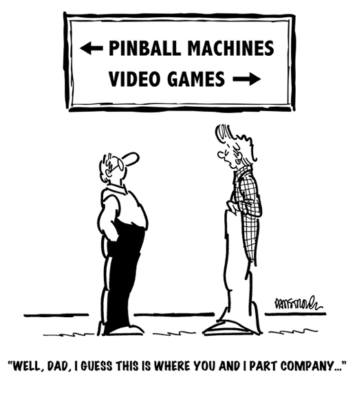 dad and son about to part company, dad to play pinball machines, son to play video games