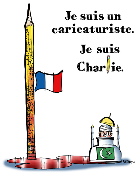 Charlie Hebdo tribute cartoon Paris shootings Islamic extremists French flag at half-mast, bullet-riddled pencil, pool blood, ink bottle as mosque