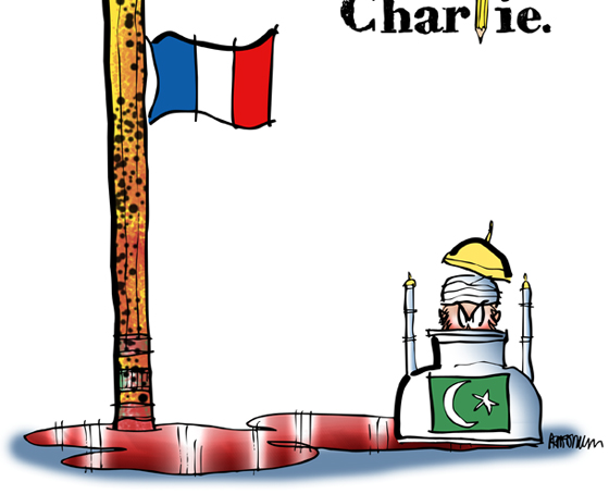 detail image Charlie Hebdo tribute cartoon Paris shootings Islamic extremists French flag at half-mast, bullet-riddled pencil, pool blood, ink bottle as mosque