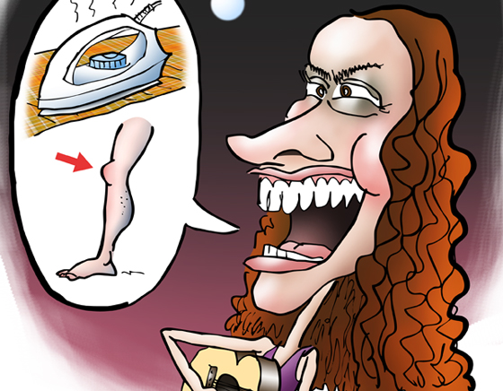 detail image of caricature Canadian singer songwriter Alanis Morissette whose most famous song is Ironic playing guitar and singing rebus with clothes iron, knee, human leg