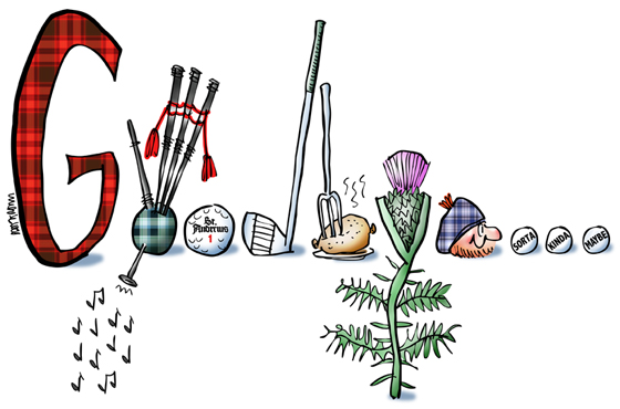 Rebus pictures of plaid letter G, bagpipes, golf ball, golf club, haggis, thistle, Scotsman wearing tam, with ellipsis