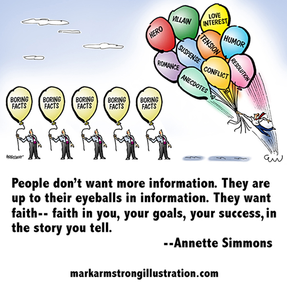 Man with balloons soaring skyward, storytelling better marketing than boring facts, people want faith, Annette Simmons quote