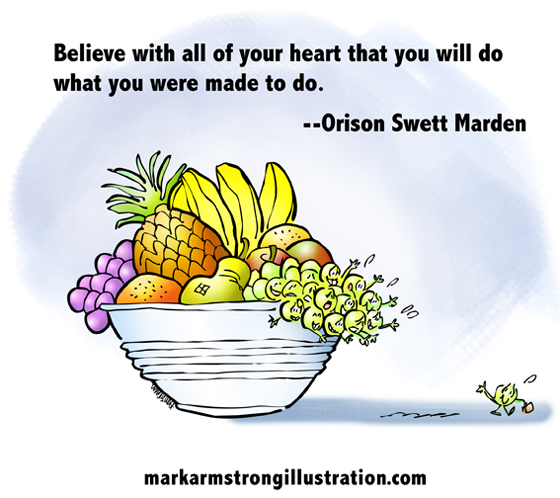 Grape with briefcase going off to make way in world waving goodbye to sad fellow grapes in bowl of fruit, Orison Swett Marden quote about having faith that you will succeed and achieve your destiny