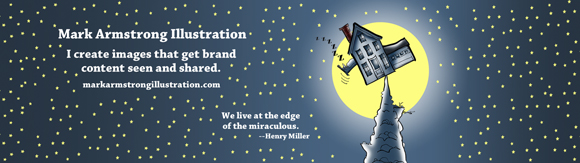 add Mark Armstrong Illustration website URL Henry Miller quote re edge of miraculous to 1500 pixel wide Twitter header image template