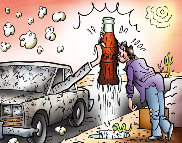 thirsty guy kissing cold Coke bottle detail image car stopped in desert hand from window cow skull snake hot sun buzzards perched on cactus
