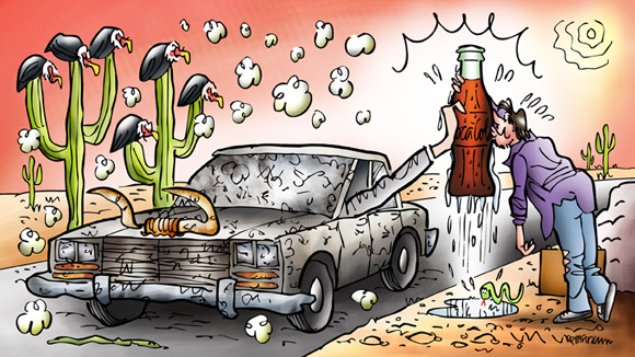 illustration final car stopped in desert hand from window offering cold Coke thirsty guy gratefully kissing bottle cow skull snake hot sun buzzards perched on cactus