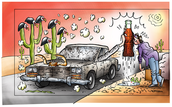 preparing to crop illustration car stopped in desert hand from window offering cold Coke thirsty guy gratefully kissing bottle cow skull snake hot sun buzzards perched on cactus
