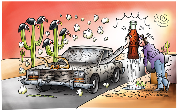 uncropped flattened illustration car stopped in desert hand from window offering cold Coke thirsty guy gratefully kissing bottle cow skull snake hot sun buzzards perched on cactus