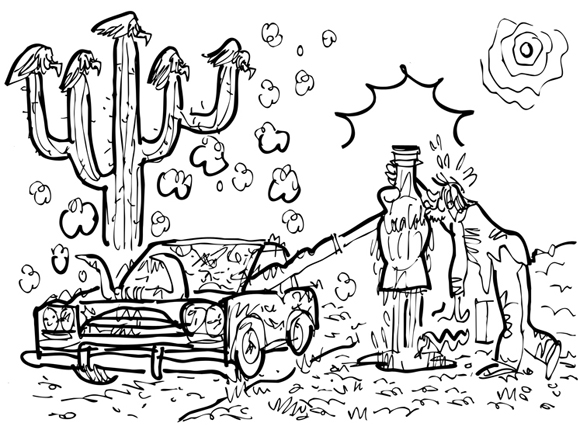 revised rough sketch car stopped in desert hand from window offering cold Coke thirsty guy gratefully kissing bottle cow skull snake hot sun buzzards perched on cactus