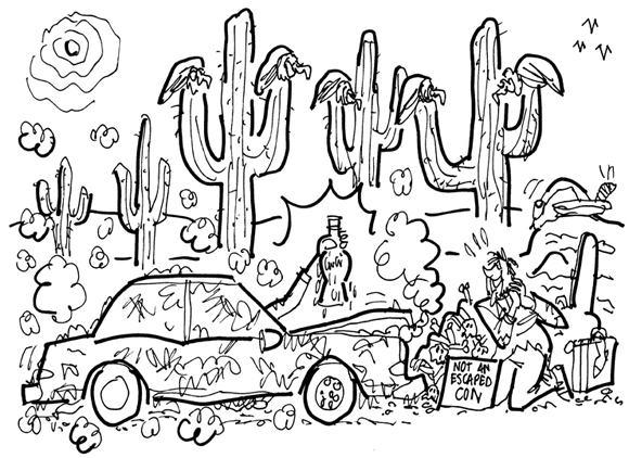 guy in desert dying of thirst buzzards on cactus car stopped hand emerging from window with ice-cold Coke