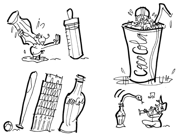Coca-Cola sketches baby prefers Coke to milk bottle football player kid cooling off in Coke cup baseball bat Coke bottle Tower Of Pisa leaning snake charmer kid snake emerging from Coke bottle
