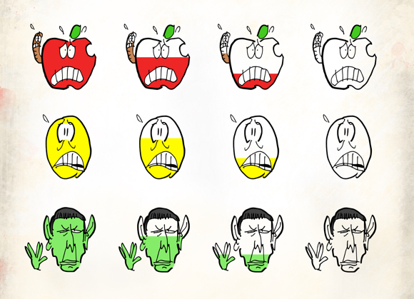 Color draining from faces of apple worm yellow smiley face and Mr. Spock of Star Trek