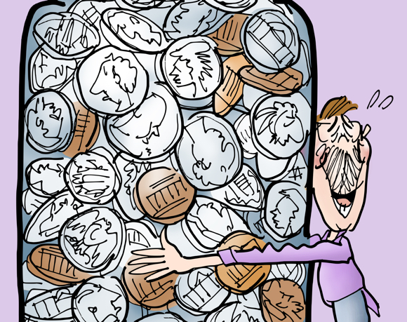 Detail image of happy man hugging big glass jar filled with coins quarters dimes nickels pennies with pun message Embrace Change